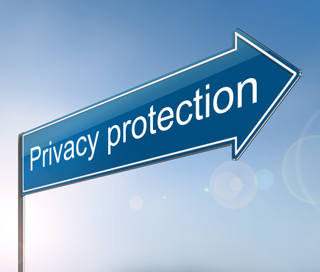 3d Illustration depicting a sign with a privacy protection concept.
