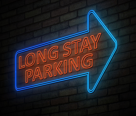 3d Illustration depicting an illuminated neon sign with a long stay parking concept.