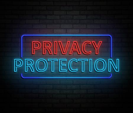 3d 개인 정보 보호 개념 조명 된 네온 사인을 묘사 한 그림. 스톡 콘텐츠