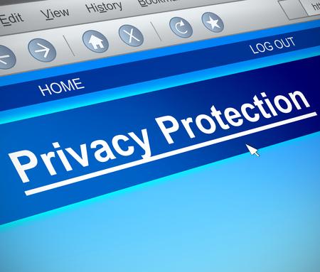 개인 정보 보호 개념 컴퓨터 화면 캡처를 묘사 한 3d 일러스트 레이 션.