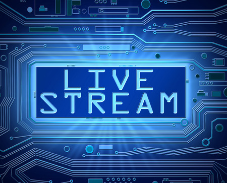 3d Abstract style illustration depicting printed circuit board components with a live stream concept. Stock Photo