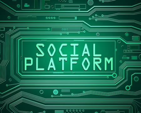소셜 플랫폼 개념 인쇄 회로 기판 구성 요소를 묘사 한 3d 추상 스타일 일러스트.