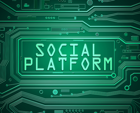 3d abstract style illustration depicting printed circuit board components with a social platform concept.