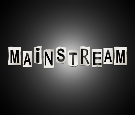 3d Illustration depicting a set of cut out printed letters arranged to form the word mainstream. Фото со стока