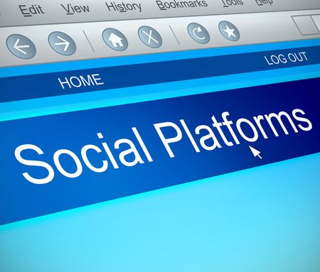 3d Illustration depicting a computer screen capture with a social platforms concept.