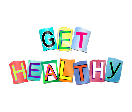 3d Illustration depicting a set of cut out printed letters arranged to form the words get healthy. Stock Illustration - 95129439