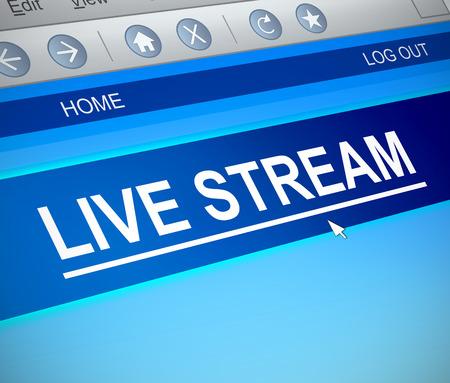3d Illustration depicting a computer screen capture with a live stream concept. Фото со стока