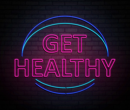 3d Illustration depicting an illuminated neon sign with a get healthy concept.