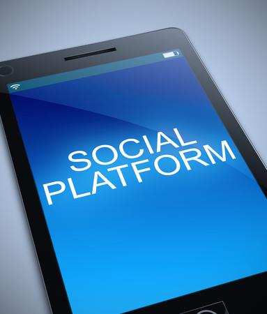 3d Illustration depicting a phone with a social platform concept. Фото со стока