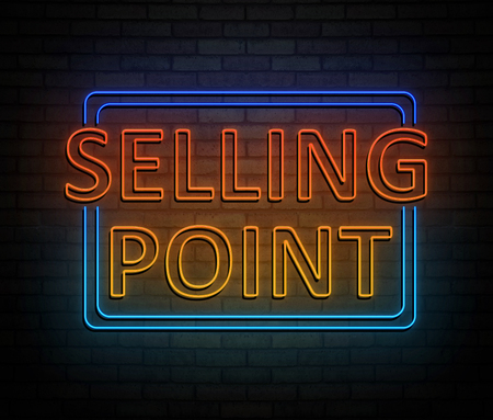 3d Illustration depicting an illuminated neon sign with a selling point concept. Stock Photo