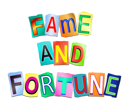 Illustration depicting a set of cut out printed letters arranged to form the words fame and fortune.