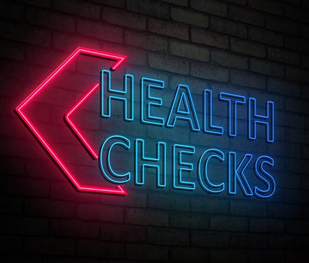 건강 검사 개념 조명 된 네온 사인을 묘사 한 3d 일러스트 레이 션. 스톡 콘텐츠