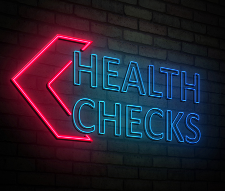 3d Illustration depicting an illuminated neon sign with a health checks concept. Фото со стока