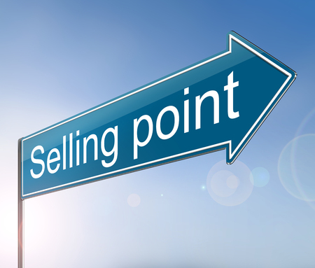 3d Illustration depicting a sign with a selling point concept.