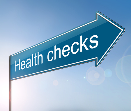 3d Illustration depicting a sign with a health checks concept. Stock Photo