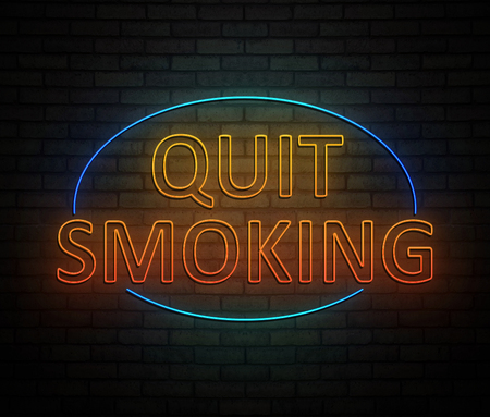 3d Illustration depicting an illuminated neon sign with a quit smoking concept.