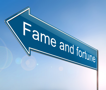 3d Illustration depicting a sign with a fame and fortune concept.