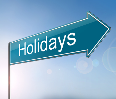 3d Illustration depicting a sign with a Holidays concept.