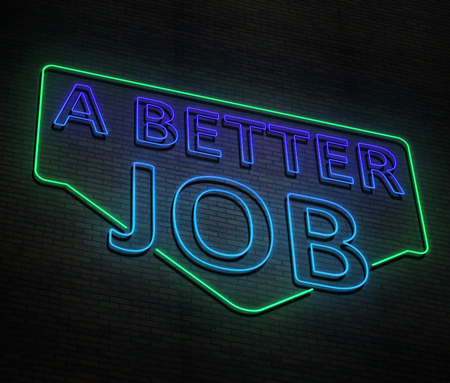 3d Illustration depicting an illuminated neon sign with a better job concept.