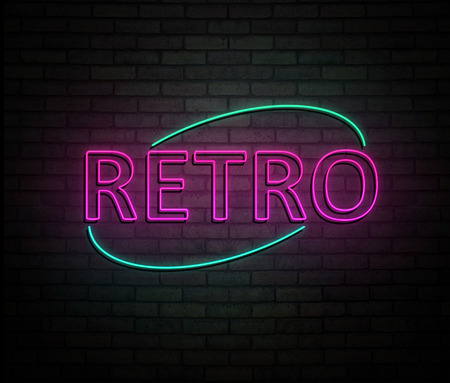 3d Illustration depicting an illuminated neon sign with a retro concept. Stock Photo