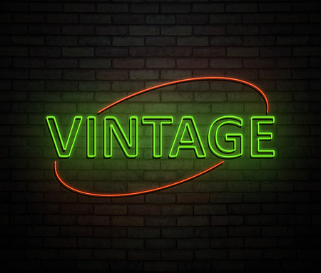 3d Illustration depicting an illuminated neon sign with a vintage concept.