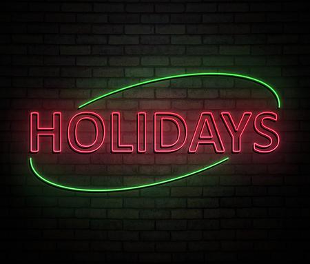 휴일 개념 조명 된 네온 사인을 묘사 한 3d 일러스트 레이 션.