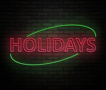 3d Illustration depicting an illuminated neon sign with a holidays concept.