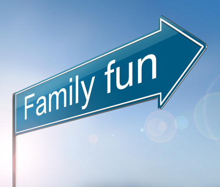 3d Illustration depicting a sign with a family fun concept.
