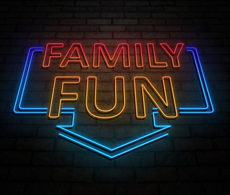 가족 재미 개념 조명 된 네온 사인을 묘사 한 3d 일러스트 레이 션.