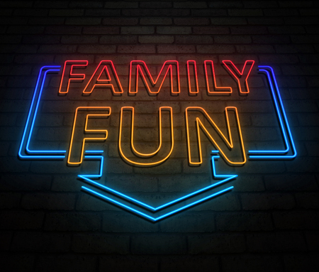 3d Illustration depicting an illuminated neon sign with a family fun concept.