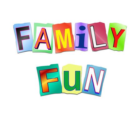 단어 가족 재미를 형성하기 위해 배열 잘라 인쇄 된 문자 집합을 묘사 한 그림. 스톡 콘텐츠