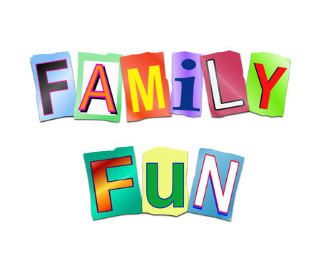 Illustration depicting a set of cut out printed letters arranged to form the words family fun. Фото со стока