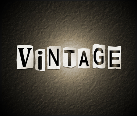 3d Illustration depicting a set of cut out printed letters arranged to form the word vintage.