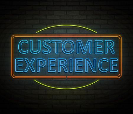 고객 경험 개념 조명 된 네온 사인을 묘사 한 3d 일러스트 레이 션.