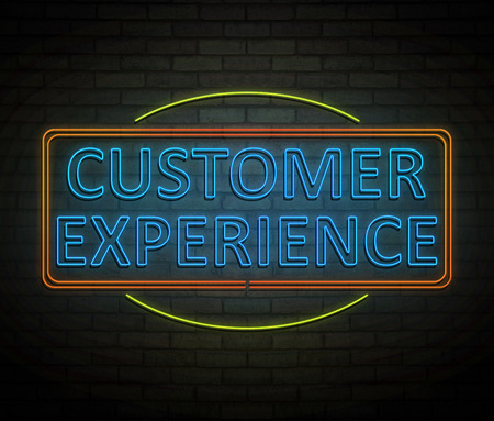 3d Illustration depicting an illuminated neon sign with a customer experience concept. Фото со стока