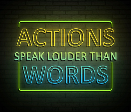 행동으로 조명 된 네온 사인을 묘사 한 3d 일러스트 단어 개념보다 더 크게 말한다.