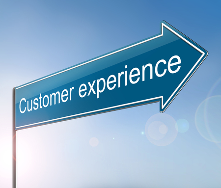 3d Illustration depicting a sign with a customer experience concept.