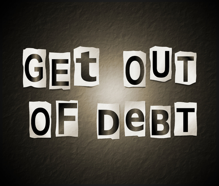 3d Illustration depicting a set of cut out printed letters arranged to form the words get out of debt.