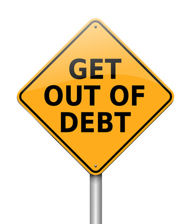 3d Illustration depicting a sign with a get out of debt concept. Imagens - 96397796