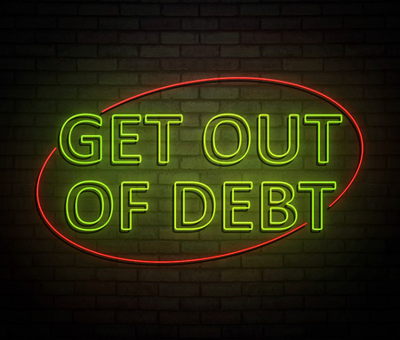 3d Illustration depicting an illuminated neon sign with a get out of debt concept.