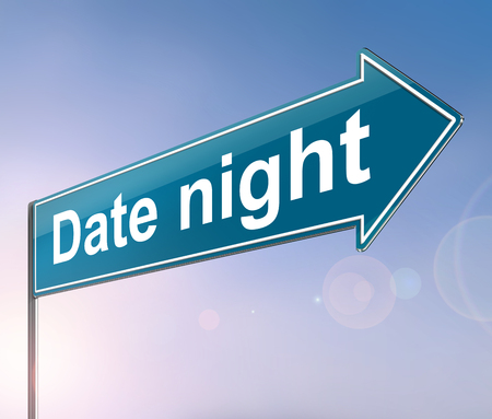 3d Illustration depicting a sign with a date night concept. Фото со стока