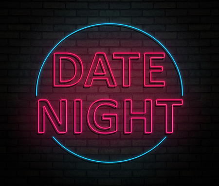 3d Illustration depicting an illuminated neon sign with a date night concept. Фото со стока