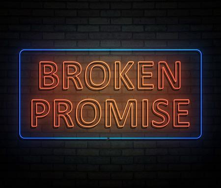 Illustrazione 3d che descrive un'insegna al neon illuminata con un concetto rotto di promessa.