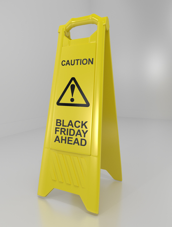 3d illustration depicting a yellow floor warning sign with a black friday concept. Фото со стока