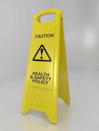 건강 및 안전 정책 개념 경고 층 기호를 묘사 한 3d 일러스트 레이 션