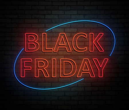3d Illustration depicting an illuminated neon sign with a black friday concept. Фото со стока
