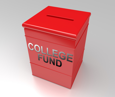 3d Illustration depicting a plain red cube money box with a college fund concept. Stock Photo
