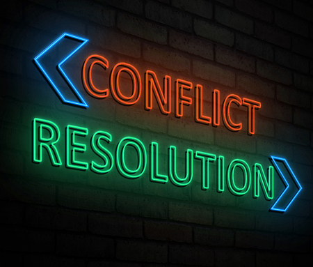3d Illustration depicting an illuminated neon sign with a conflict and resolution concept. Stock Photo