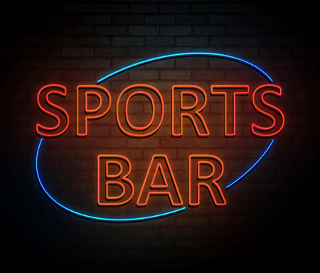3d Illustration depicting an illuminated neon sign with a sports bar concept. Фото со стока