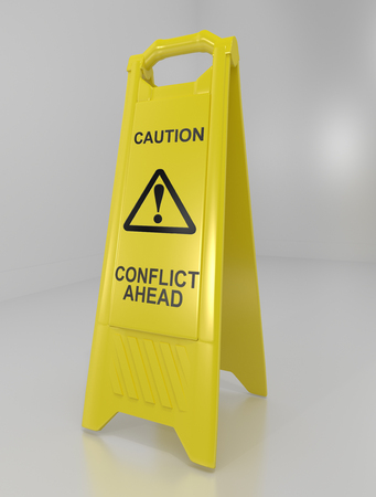 3d illustration depicting a yellow floor warning sign with a conflict warning concept.